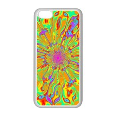 Magic Ripples Flower Power Mandala Neon Colored Apple Iphone 5c Seamless Case (white) by EDDArt