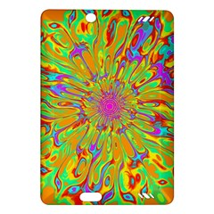 Magic Ripples Flower Power Mandala Neon Colored Amazon Kindle Fire Hd (2013) Hardshell Case by EDDArt