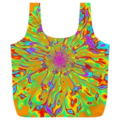 Magic Ripples Flower Power Mandala Neon Colored Full Print Recycle Bags (l)  by EDDArt