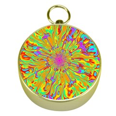 Magic Ripples Flower Power Mandala Neon Colored Gold Compasses by EDDArt