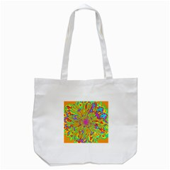 Magic Ripples Flower Power Mandala Neon Colored Tote Bag (white) by EDDArt