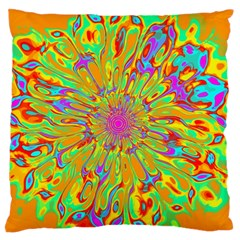 Magic Ripples Flower Power Mandala Neon Colored Large Flano Cushion Case (two Sides) by EDDArt