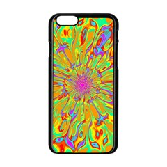 Magic Ripples Flower Power Mandala Neon Colored Apple Iphone 6/6s Black Enamel Case by EDDArt