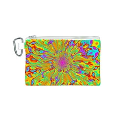 Magic Ripples Flower Power Mandala Neon Colored Canvas Cosmetic Bag (s) by EDDArt