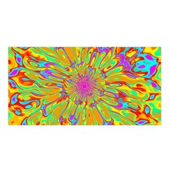 Magic Ripples Flower Power Mandala Neon Colored Satin Shawl by EDDArt