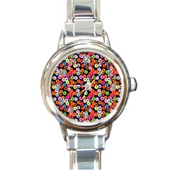 Colorful Yummy Donuts Pattern Round Italian Charm Watch by EDDArt
