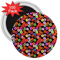 Colorful Yummy Donuts Pattern 3  Magnets (100 Pack) by EDDArt