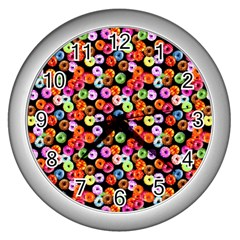 Colorful Yummy Donuts Pattern Wall Clocks (silver)  by EDDArt