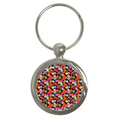Colorful Yummy Donuts Pattern Key Chains (round)  by EDDArt