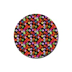 Colorful Yummy Donuts Pattern Rubber Coaster (round)  by EDDArt