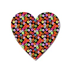 Colorful Yummy Donuts Pattern Heart Magnet by EDDArt