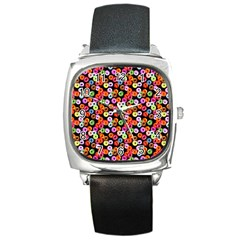 Colorful Yummy Donuts Pattern Square Metal Watch by EDDArt