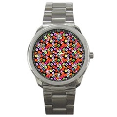 Colorful Yummy Donuts Pattern Sport Metal Watch by EDDArt