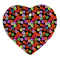 Colorful Yummy Donuts Pattern Heart Ornament (two Sides) by EDDArt