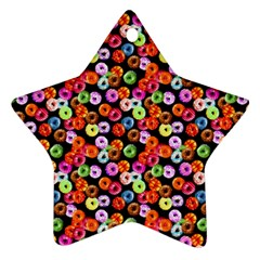 Colorful Yummy Donuts Pattern Star Ornament (two Sides) by EDDArt