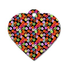 Colorful Yummy Donuts Pattern Dog Tag Heart (two Sides) by EDDArt
