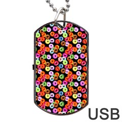 Colorful Yummy Donuts Pattern Dog Tag Usb Flash (one Side) by EDDArt