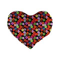 Colorful Yummy Donuts Pattern Standard 16  Premium Heart Shape Cushions by EDDArt