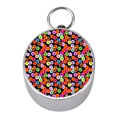 Colorful Yummy Donuts Pattern Mini Silver Compasses by EDDArt