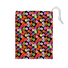 Colorful Yummy Donuts Pattern Drawstring Pouches (large)  by EDDArt