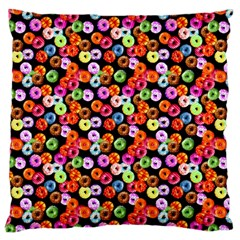Colorful Yummy Donuts Pattern Large Flano Cushion Case (two Sides) by EDDArt