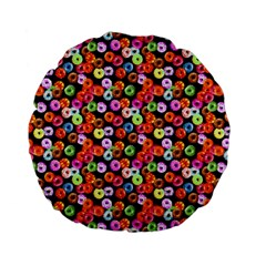 Colorful Yummy Donuts Pattern Standard 15  Premium Flano Round Cushions by EDDArt