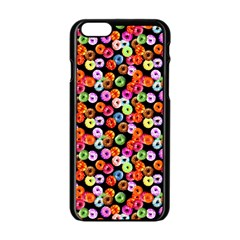 Colorful Yummy Donuts Pattern Apple Iphone 6/6s Black Enamel Case by EDDArt