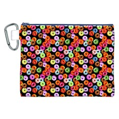 Colorful Yummy Donuts Pattern Canvas Cosmetic Bag (xxl) by EDDArt