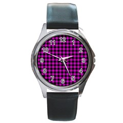 Lumberjack Fabric Pattern Pink Black Round Metal Watch