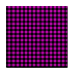 Lumberjack Fabric Pattern Pink Black Tile Coasters by EDDArt