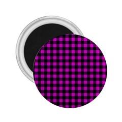 Lumberjack Fabric Pattern Pink Black 2 25  Magnets by EDDArt