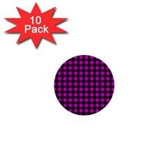 Lumberjack Fabric Pattern Pink Black 1  Mini Buttons (10 Pack)  by EDDArt
