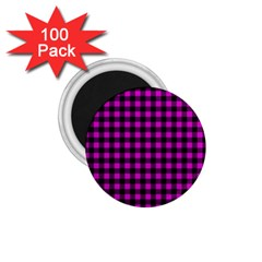 Lumberjack Fabric Pattern Pink Black 1 75  Magnets (100 Pack)  by EDDArt