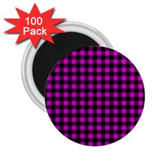 Lumberjack Fabric Pattern Pink Black 2 25  Magnets (100 Pack)  by EDDArt
