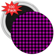 Lumberjack Fabric Pattern Pink Black 3  Magnets (100 Pack) by EDDArt