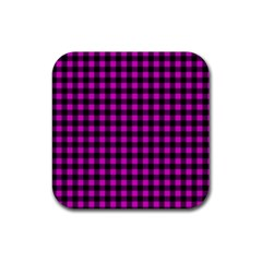 Lumberjack Fabric Pattern Pink Black Rubber Square Coaster (4 Pack)  by EDDArt