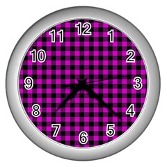 Lumberjack Fabric Pattern Pink Black Wall Clocks (silver)  by EDDArt