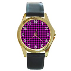 Lumberjack Fabric Pattern Pink Black Round Gold Metal Watch by EDDArt