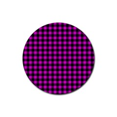 Lumberjack Fabric Pattern Pink Black Rubber Round Coaster (4 Pack)  by EDDArt