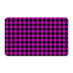 Lumberjack Fabric Pattern Pink Black Magnet (rectangular) by EDDArt