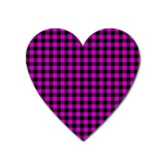 Lumberjack Fabric Pattern Pink Black Heart Magnet by EDDArt