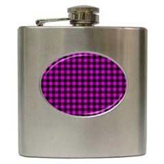 Lumberjack Fabric Pattern Pink Black Hip Flask (6 Oz) by EDDArt
