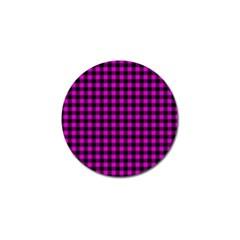Lumberjack Fabric Pattern Pink Black Golf Ball Marker (10 Pack) by EDDArt