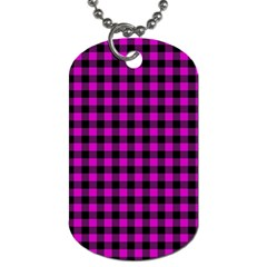 Lumberjack Fabric Pattern Pink Black Dog Tag (two Sides) by EDDArt