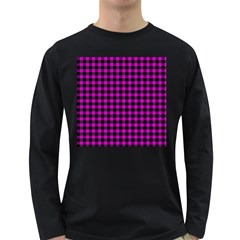 Lumberjack Fabric Pattern Pink Black Long Sleeve Dark T Shirts by EDDArt