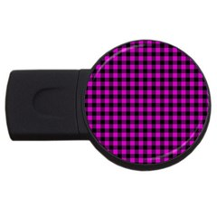 Lumberjack Fabric Pattern Pink Black Usb Flash Drive Round (4 Gb) by EDDArt