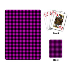 Lumberjack Fabric Pattern Pink Black Playing Card by EDDArt