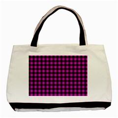 Lumberjack Fabric Pattern Pink Black Basic Tote Bag by EDDArt
