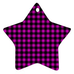 Lumberjack Fabric Pattern Pink Black Star Ornament (two Sides) by EDDArt
