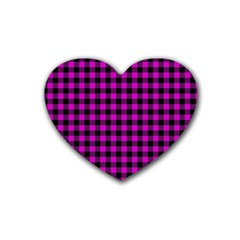 Lumberjack Fabric Pattern Pink Black Rubber Coaster (heart)  by EDDArt